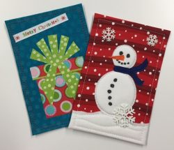Fabric Postcards for Winter and Christmas