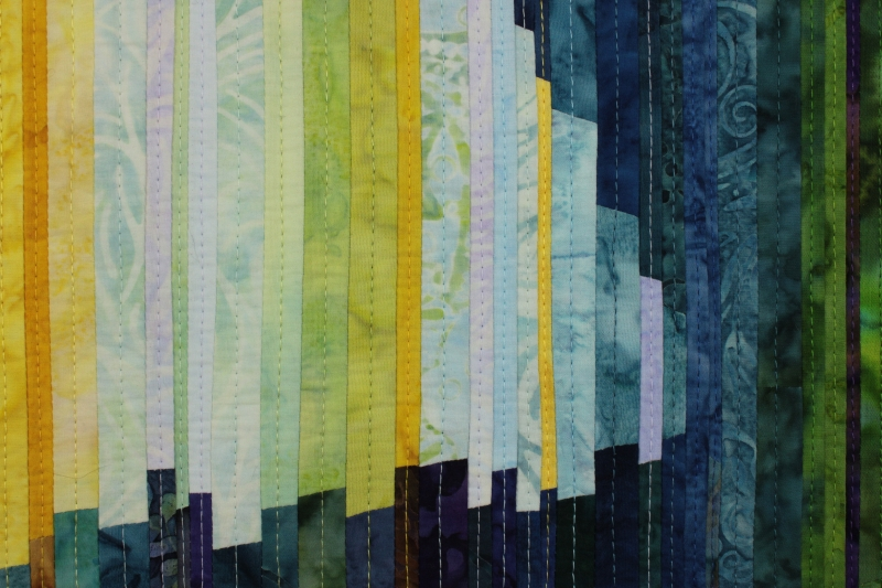 Another detail view of Breathing Space focusing on the stitching lines in the art quilt