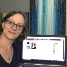 Christine Hager-Braun showing the online interview on her laptop