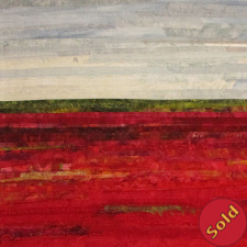 Blueberry Fields #3, art quilt depicting blueberry bushes with red foliage