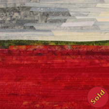 Blueberry Fields #4, a vivid red landscape with gray cloudy sky
