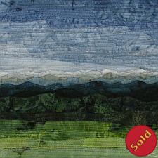 Green Fields #5, fiber art depicting hills and mountains