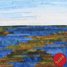 Sound Views #5, fiber art showing marshland and sky