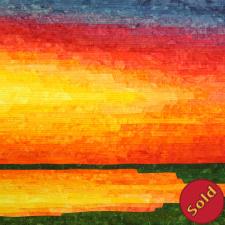 Sunset at the Lake, fiber art in vivid colors
